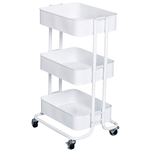 HOMCOM 3- Tier Rolling Metal Kitchen Utility Cart Trolley with Storage – White