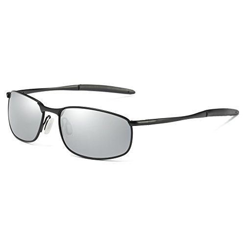 COASION HD Polarized Driving Outdoor Sports Cycling Sunglasses for Men Lightweight Metal Frame100% UV Protection (Black Frame/Silver Mirrored Lens, 57) (Wrap Sunglasses Predator)