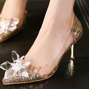 JingZhou Plus Size Cinderella Shoes Low Heels Ladies Pumps Women Wedding Party Thin Heel Rhinestone Butterfly Crystal Dress ()
