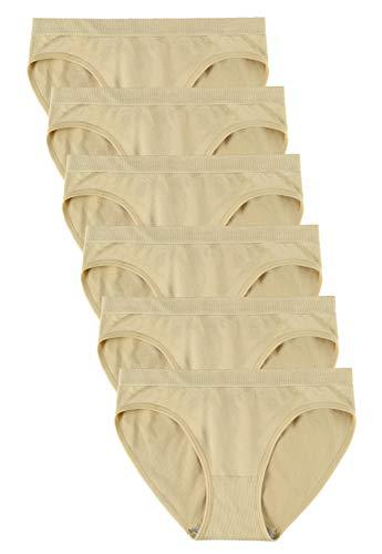Wealurre Women's Hipster Panties Seamless Underwear Low Rise Bikini Panty Multipack(5117M,Apricot)