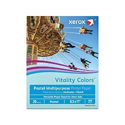 Ream Xerox - Multipurpose Colored Copy Paper, 20 Lb., 8 1/2in. x 11in., Blue, Ream Of 500 Sheets