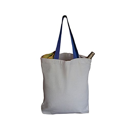 BagzDepot 100% Cotton Canvas Promo Tote Bag With Heavy Canvas Colored Web Handles (1, Royal ()