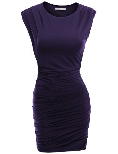 Doublju Classic Slim Fit Sleeveless Sexy Bodycon Dress For Women With Plus Size PURPLE X-LARGE