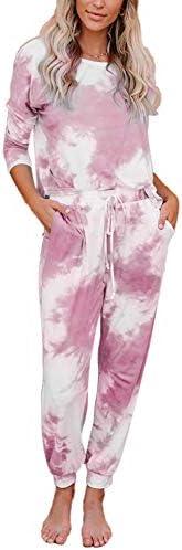 Viottiset 2 Piece Tie Dye Outfits Sweatsuit Lounge Set Loungewear Long Sleeve