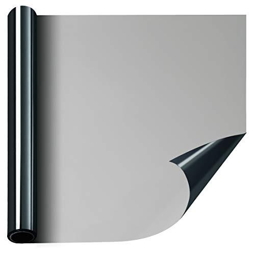 FILMGOO One Way Window Film Privacy Window Heat Control Flim Kit Anti-UV Static Glass Films Non-Adhesive Window Tint for Home and Office 35.4 Inch x 6.5 Feet Black Silver by FILMGOO