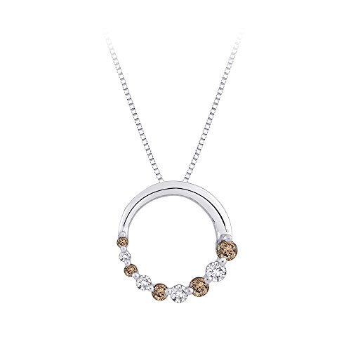 (KATARINA Brown and White Diamond Journey of Love Circle Pendant Necklace in Sterling Silver (1/4 cttw))