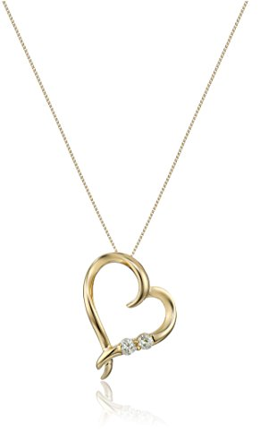 14k Mom Heart (14k Yellow Gold 1/5ctw Two Stone Diamond Heart Pendant Necklace, 18