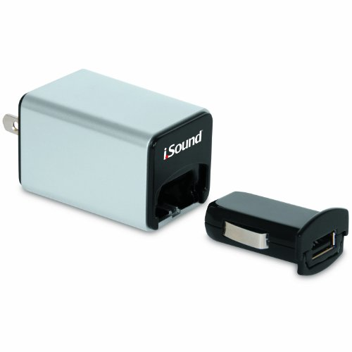 iSound Wall and Car Combo Charger Pro for smartphones, tablets, MP3 players and other USB powered devices (silver)