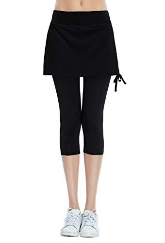 Women's Running Cropped Capri Pants Skirted Sport Leggings Sun Protection Black L ()