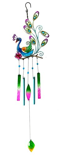 Bejeweled Display® Beautiful Peacock w/ Stained Glass Wind Chimes Tubes - Flowers Stained Glass Wind Chimes