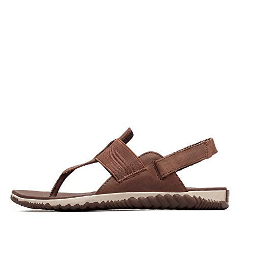 Sorel - Women's Out N About Plus Thong Sandals with Ankle Strap, Full-Grain Leather, Tobacco, 12 M US