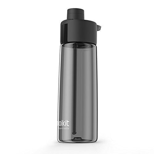 Makimoo Smart Sports Bottle Bluetooth 4.0 free IOS and Android APP LCD Display for Outdoors Recreation Cycling Fitness - Grey (Level Average Fitness)