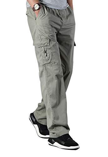 Banana Bucket Men's Full Elastic Waist Loose Fit Lightweight Workwear Pull On Cargo Pants Khaki ()