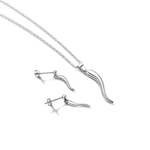Women Girls 925 Sterling Silver Italian Horn Pendant Necklace Earrings Set