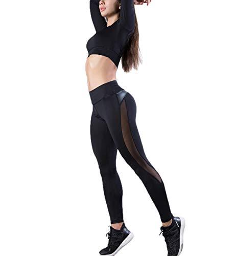 - ECHOINE Women Mesh Faux Leather Patchwork High Waist Tummy ControlWorkout Yoga Capri Pants Leggings Black