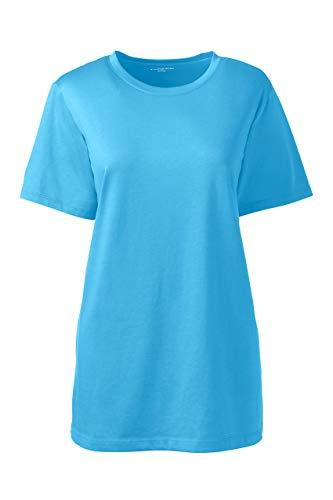 Lands' End Women's Relaxed Fit Supima Cotton Crewneck Short Sleeve T-Shirt (Short T-shirt Sleeve Solid Crewneck)