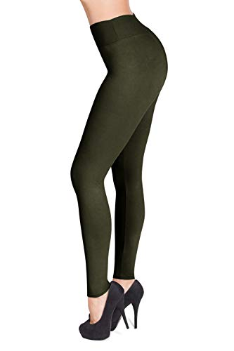 SATINA High Waisted Leggings - 22 Colors - Super Soft Full Length Opaque Slim (One Size, Olive) -