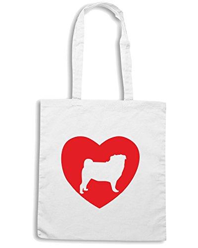 T-Shirtshock - Bolsa para la compra CIT0186 Pug Love Blanco