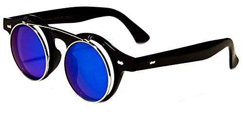 Big Kids Round Flip Up Mirrored Fun Sunglasses Ages 5-16 (Black/Blue Lens)