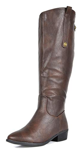 - DREAM PAIRS Women's Brown Luccia-New Knee High Winter Riding Boots Size 9 B(M) US