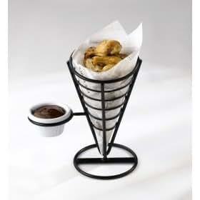 Food Presentation - Wire Serving Chip Cones - Price per 6 Ramekins Black Smooth x6