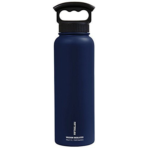 FIFTY/FIFTY Vacuum-Insulated Stainless Steel Bottle with Wide Mouth - 40 oz. Capacity - Navy