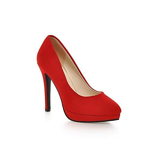 rouge 34 EU FLYRCX MesLes dames mode Stiletto Talons Hauts Pointu élégant Chaussures de Travail de tempéraHommest élégant Chaussures Simples