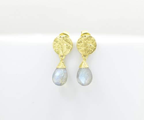 Teardrop Labradorite Gold Plated Earring Silver 925, Pear Drop Grey Gemstone Vermeil, Kate Middleton, Boho, Coin Hammered