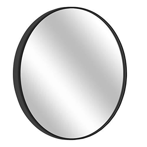 MORIGEM Round Mirror, 27.6 Wall Mirror, Wall-Mounted Mirror for Bedroom, Bathroom, Living Room Entryway, 1.4 Metal Frame Vanity Mirror, Black