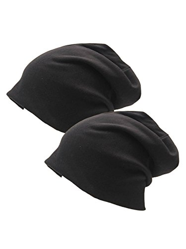 - Century Star Unisex Baggy Lightweight Hip-Hop Soft Cotton Slouchy Stretch Beanie Hat Y Black 2 Pack