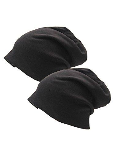Century Star Unisex Baggy lightweight Hip-Hop Soft Cotton Slouchy Stretch Beanie Hat Y Black 2 Pack