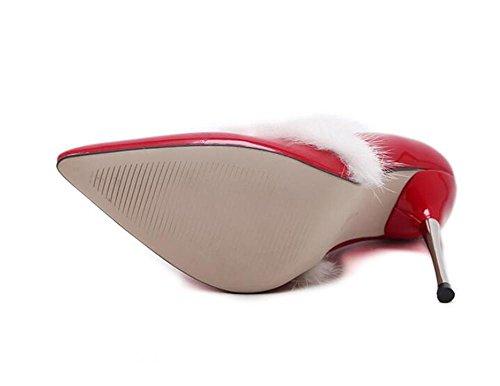 LDMB Pointe Toe Court Chaussures True Rabbit cheveux mince bouche mince avec talons bas pour aider les chaussures simples , red , 36