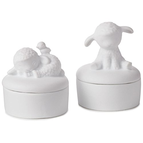Hallmark Tooth and Curl Porcelain Lamb Keepsake Boxes, Set of 2