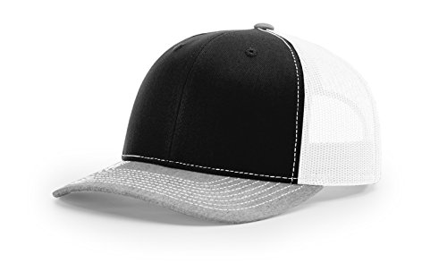 Richardson - Snapback Trucker Cap - 112 - Adjustable - Black/White/ Heather Grey