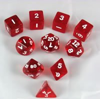 Red Transparent Polyhedral Dice Set - 10pc Set in (Dice Set 10pc Set In Tube)