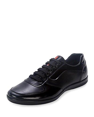 Prada Men's Offshore Leather Sneaker, Black (8.5 US/7.5 (Calfskin Leather Sneakers)