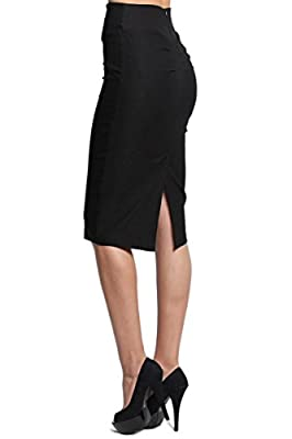 TheMogan Women's Pleated Yoke Back High Waist Stretch Curve Pencil Midi Skirt