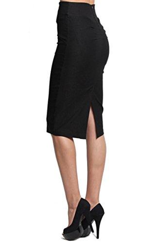 TheMogan Women's Pleated Back High Waist Stretch Pencil Midi Skirt Black L Back Slit Stretch Skirt