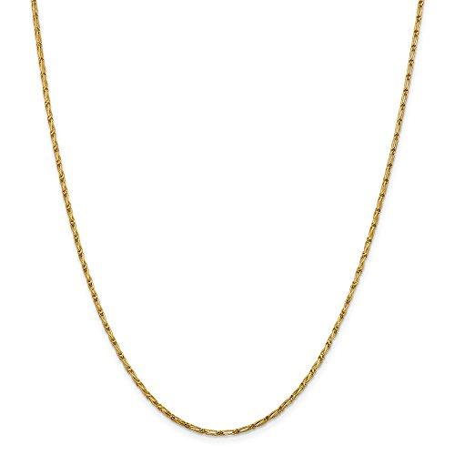 Open Long Link Necklace (Leslie 14k 1.6 mm Sparkle-Cut Open Long Link Franco Chain Necklace - 24 Inch)