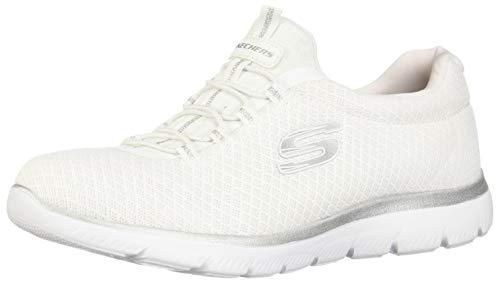 Skechers Women's Summits Sneaker, White/Silver, 8.5 M US