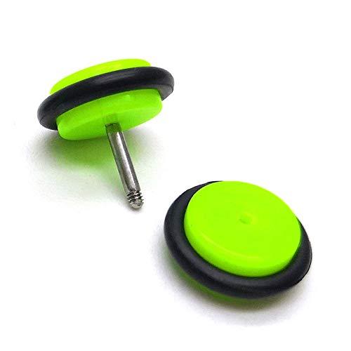 Steel Cheater Fake Ear Plugs Gauges Tunnel 10MM Womens Men Fluorescence Green Screw Stud Earrings
