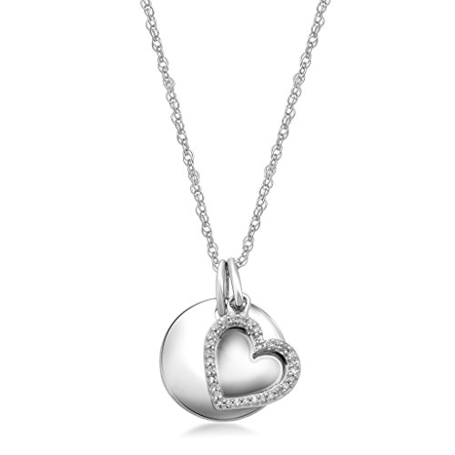 Sterling Silver Heart Disk - Jewelili Sterling Silver Diamond Accent Heart And Engravable Disc Charm Pendant Necklace, 18""