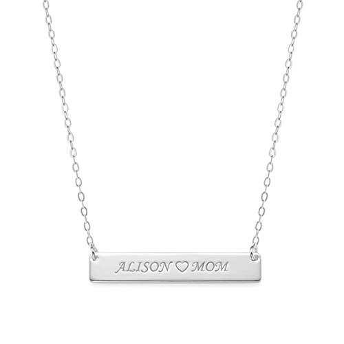 Ouslier 925 Sterling Silver Personalized Bar Name Necklace Pendant Custom Made with 2 Names