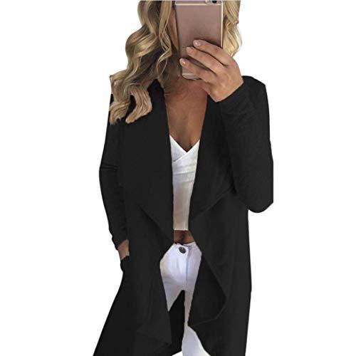 Désinvolte Biran Elégante Manches Printemps Asymmetric Outerwear Automne Femme Longues Unicolore Blouson Mode Schwarz Manteau Bouffant Irregular Breal Cardigan zwrqzxHS