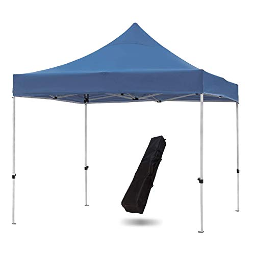 Snail Commercial Grade 10'x10' Outdoor Easy Pop Up Canopy Tent with Heavy Duty Aluminum Straight Leg and 420D Waterproof Top, Portable Event Party Shade Shelter with Carry Bag, Dark Blue ()