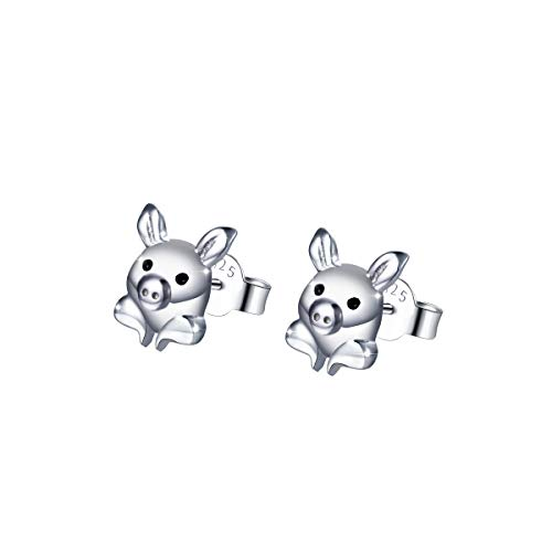 Hypoallergenic 925 Sterling Silver Animal Earring Studs Cute Pig Earrings Girls ()