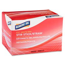 Stir Sticks/Straws, Plastic, F/Hot/Cold,1000/BX,5-1/2