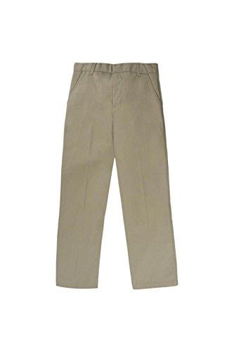 Khaki Uniform Pant (French Toast Big Boys' Flat Front Double Knee Pant With adjacent Waist, Khaki, 8)