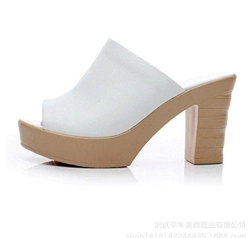 Tacón 35 de la de Tacón de Mulas 40 Para Tamaño Vestido Zuecos Zapatos Fiesta Novedad el de Boda de Plataforma Mujer Grueso y DANDANJIE Cuero Confort de Blanco Bloque vRqPSF