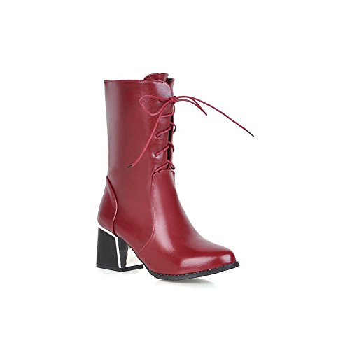 Leather Red Up AdeeSu Mule Womens Chunky Heels Boots Lace Imitated xxvqfaw4